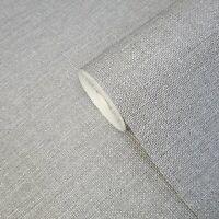 Contemporary Modern Gray plain faux fabric vinyl non woven textured Wallpaper