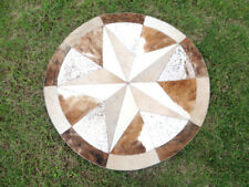 """Star Cowhide Rug Cow Hide Skin Carpet Leather Round patchwork a1 40"""" inches s88"""