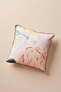 NWT Anthropologie Pink Paint + Petals Pillow