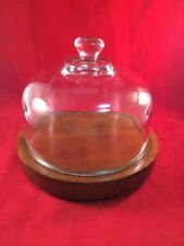 """Vintage GOODWOOD 7.5"""" Cheese Board Tray Heavy  Glass Dome Lid Made in Taiwan ROC"""