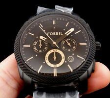 New Old Stock FOSSIL Machine FS4682 SS Chronograph Date Quartz Men Watch