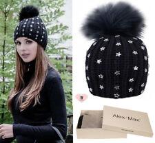 Alex Max  embellished Ecological Fur Pon Pon Hat - Navy with Gift box