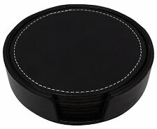 Set of 6 Black PU Leather Round Drink Coasters With Coaster Holder Pad Tableware