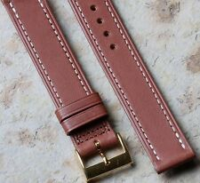 Contrast stitched Genuine Western Leather 16mm vintage watch strap NOS 1960s/70s