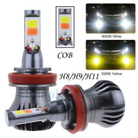 2x COB H8/H9/H11 2400LM 12W LED Car Dual Color Fog Light Lamp Bulb White/Yellow