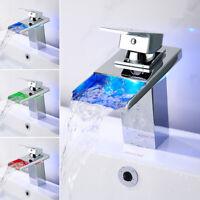 LED Wasserhahn Waschtisch Armatur Wasserfall Einhandmischer Badarmatur Chrom