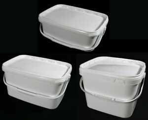 Airtight Rectangular Food Grade White Catering Plastic Buckets 3, 5 & 10 Litres!