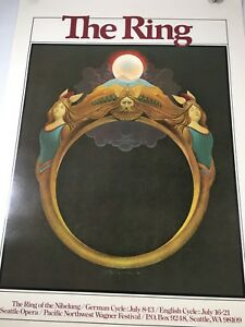 "Seattle Opera Poster 1978 Pacific Northwest Wagner Festival The Ring 34""x 24"""