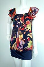 TED BAKER floral dress size 1 UK8 --USED ONCE-- bold print contrast fabric frill