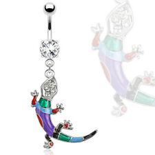 TJS Lizard Multi Coloured Epoxy Gems Dangle Navel Ring Belly Bar Clear CZ