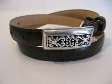 BRIGHTON BROWN BELT WITH SILVER COLORED  DESIGNED BUCKLE SIZE M