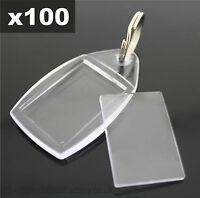 100x Clear Acrylic Plastic BLANK PHOTO KEYRINGS 24 x 35 mm Insert (Ref:P5)