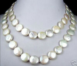"""Genuine 15-16mm freshwater Cultured coin pearls necklace 32"""""""