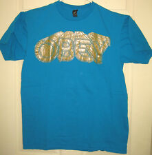 OBEY Shirt L Gold Sparkle Logo Andre The Giant Street Wear Swag OOP RARE HTF