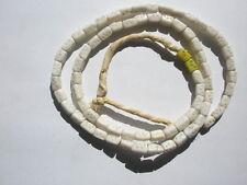 Antique Bohemian Glass Dice Trade Beads, White - 5x9mm - Strand