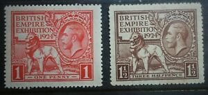 1924 King George V , British empire Exhibition Set of 2 stamps  , MH