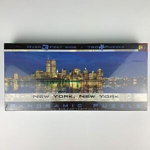 New York City Twin Towers Panoramic Puzzle 3 Feet Wide 750 Piece Buffalo Games