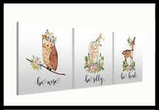 "Woodland Animals (106) - Set of three 10"" Mounted Square Canvas Pictures Prints"