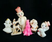 Lot of 6 Small Vintage Gurley Candles Unburned Christmas Young Rudolph Snowman