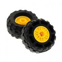 2x Lego Rad gelb 18x14 Felge Reifen 37x18 R Pin Loch 56891 55981c04
