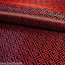 BLACK RED  WIND SWIRL BROCADE FAUX SILK SHANTUNG FABRIC 4 DRESS BLOUSE ORIENTAL