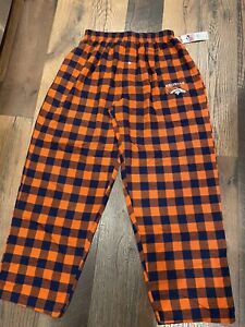 Denver Broncos NFL Men's Flannel Checkered Plaid Pajama Lounge Bottoms ~ NWT