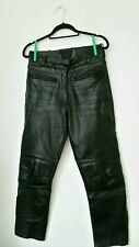 RAYVEN Black LEATHER Motor Bike Cycle Trousers Size 10 Thick Outwear Pants