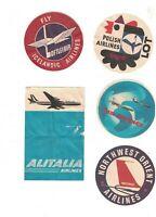 Airlines Luggage Tag Lot of 8 TWA Alitalia SAS Air France Malaysian Polish