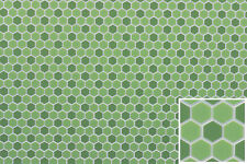 "Dollhouse Miniatures 1:12 Scale Tile Floor 3/8"" Hexagons Green #Ff60694"