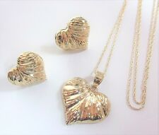 14K and 10K Yellow Gold Heart Textured Pendant Necklace & Earrings Set 3.2g 17""