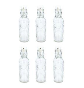6 x Clip Top Glass Bottles 250ml Airtight Oil Vinegar Dressing Juices Bottles