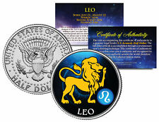 LEO Horoscope Astrology Zodiac JFK Kennedy U.S. Colorized Half Dollar Coin