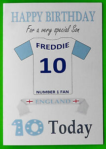 ENGLAND FAN Unofficial PERSONALISED Football Rugby Hockey Birthday Card
