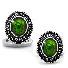 US Army Peridot Green Stone Military Silver Stainless Steel Cufflink a Pair