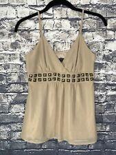 EXPRESS Women's Shimmering Gold Beige Embelished Halter Lined Camisole Size XS