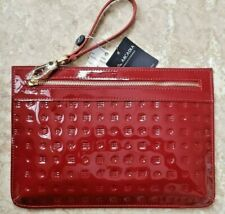 🎁 NWT ARCADIA Patent Leather Large Pouch Wristlet in Marsala Red Made in Italy
