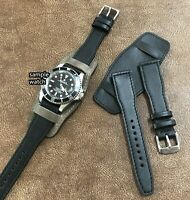 Size 20/22mm Aviator Bund Easy Release Style Leather Cuff Watch Band/Strap #094i