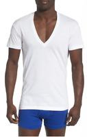 2(X)IST Essential 3-Pack White Slim Fit Deep V-Neck T-Shirt Men's Size M 3316