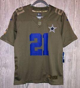 NIKE NFL Dallas Cowboys #21 Elliott Green Salute Service Football Jersey Youth L