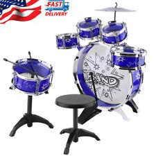 Kids Junior Drum Kit Tom Drums Cymbal Stool Drumsticks Set Musical Instrument An