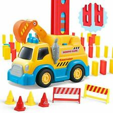 120Pcs Domino Construction Vehicle Toy Set for Kids, Automatic Domino Car