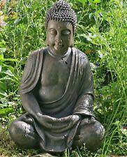Statua di Buddha scultura 70 X 45CM Figura modello Monaco Giardino Marrone NUOVO