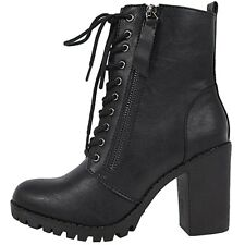 New Women Black Brown Lace Up Combat Lug Sole Chunky Heel Ankle Boots Booties