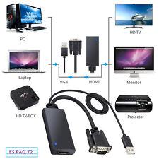 Adaptador de Cable Convertidor 3D HD 1080P VGA a HDMI + USB Para PC TV STB 60Hz
