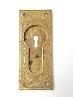 "B119 Antique Pocket Door Pull Ornate Eastlake? Brass 5 5/8"" x 2 1/4"" x 7/16"""