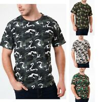 Mens Military T Shirt Camouflage Army Top Camo Combat Fishing Hunting M-2XL