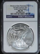 2014 (S) American Silver Eagle Early Release NGC MS70 Struck at San Fransisco