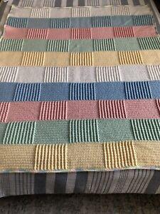 Hand Made Crochet Baby Blanket Unisex Multi Colored Blanket Heavy Duty