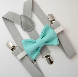 Kids Boys Mens Light Gray Suspenders & SPA Robin Blue Bow tie Infant - ADULT SET