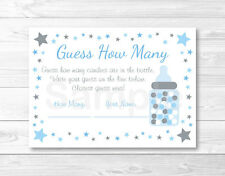 """Blue Twinkle Star Printable Baby Shower """"Guess How Many?"""" Game Cards"""